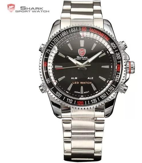 Relógio Masculino Shark Anadigi Sh-003 - Prata E Preto