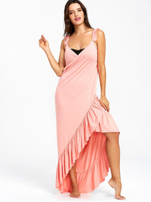 Largo Flounce Wrap Cubierta Arriba Vestido