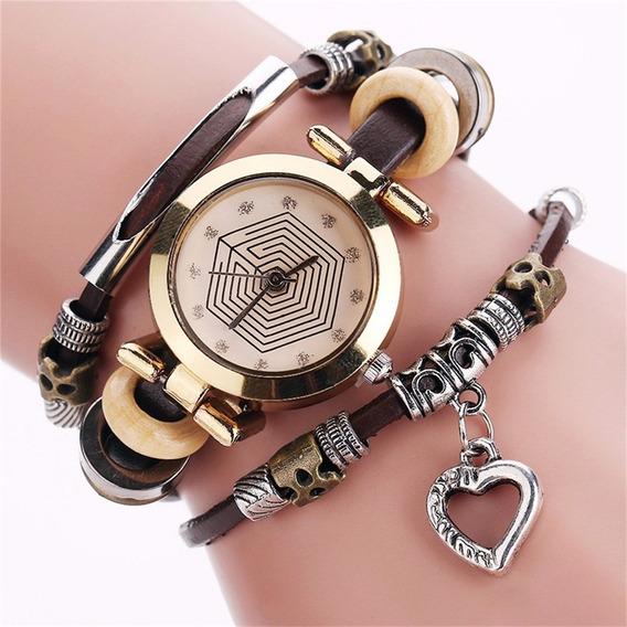 Mulheres Bracelete Relógio Retro Estilo Multilayer Pulseira