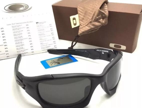 Oculos De Sol Pit Boss Preto Cx Marrom Premium Polarizado!!!