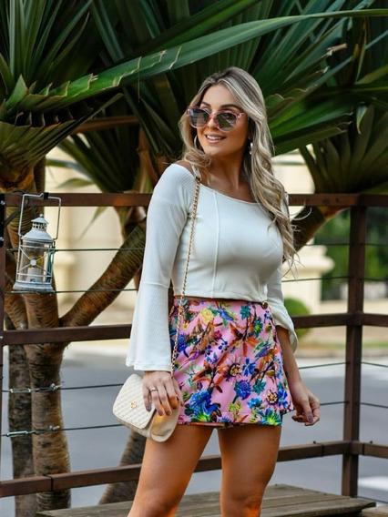 Saia Shorts Tecido Acetinado Floral Moda Feminina Nova
