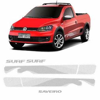 Kit Adesivo Faixa Saveiro Surf 2015/16 Prata Modelo Original