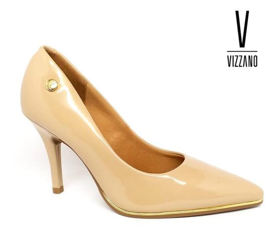 Sapato Scarpin Vizzano Bico Fino Verniz Filete Dourado 1267