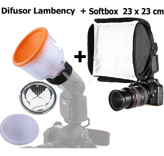 Kit Difusor Lambency Universal Para Flash + Softbox 23 X 23
