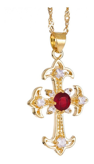 Crucifixo De Ouro 24k Rubi