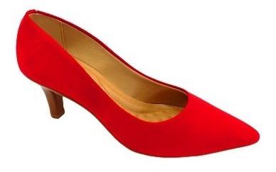 Sapato Beira Rio Camurça Flex Vermelho Conforto Ref: 4163.10