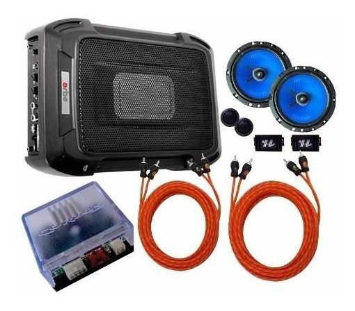Caixa Slim + Kit 2 Vias 6 + Módulo Amplificador + Rca Cabos