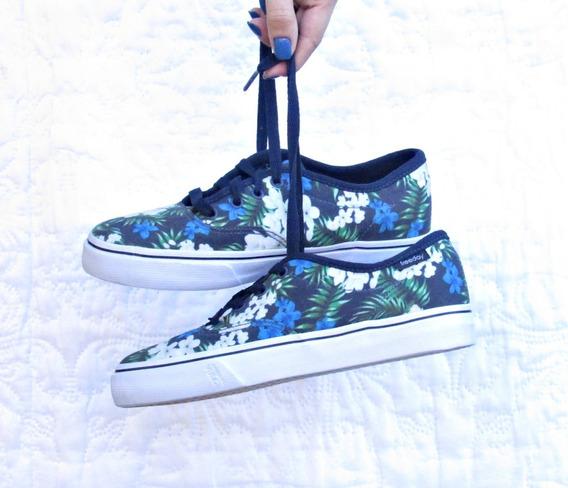 Tênis Freeday Floral Feminino Streetstyle Skateboard Tumblr