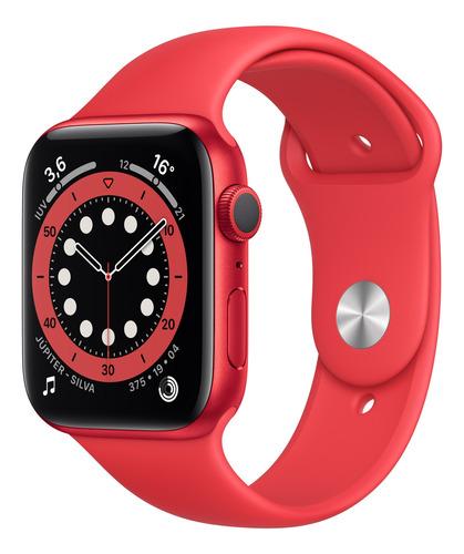 Imagem 1 de 8 de Apple Watch  Series 6 (GPS) - Caixa de alumínio (PRODUCT)RED de 44 mm - Pulseira esportiva (PRODUCT)RED