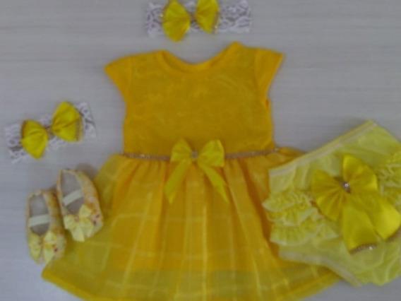 Kit 5 Peças Vestido+sapato+2faixas+calcinha/ Promoção/ Bebê