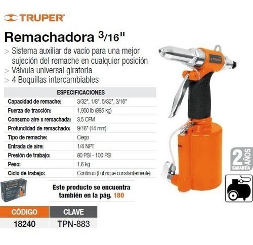 Remachadora Neumatica 3/16 Truper 18240