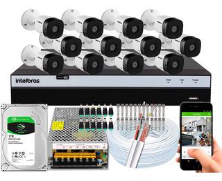 Kit Cftv 12 Cameras Segurança Vhd 1220 B G5 Intelbras 16 Ch