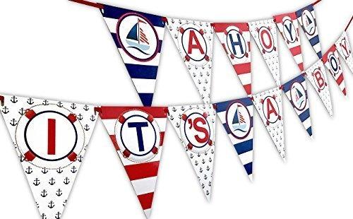 Ahoy Es Un Banderín De Banner De Baby Shower Náutico Para Ni