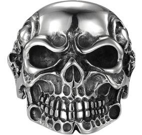 Anel Skull - Caveira Viking - Aço Inox. Nº 31 ( B R )
