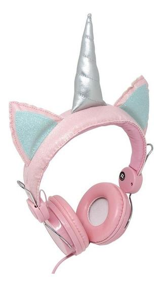 Fone Ouvido Headphone C/ Fio Rosa Unicórnio Glitter