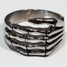 Anel Esqueleto Da Mão Aço Inoxidável Gótico