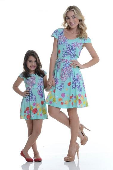 Conjunto Vestido Mãe E Filha Algas M/2 Anos