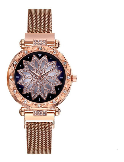 Relógio Feminino Flor Fivela Ímã Com Bracelete - Rosê
