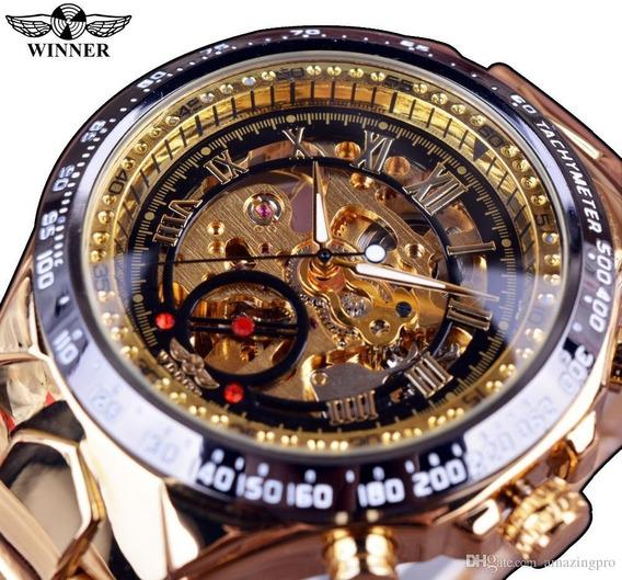 Relógio Masculino Dourado Luxo Inox Automatico Esqueleto 432