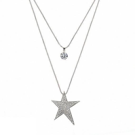 Collar De Mujer Gran Estrella Cristal Rihestone Y Zirconia