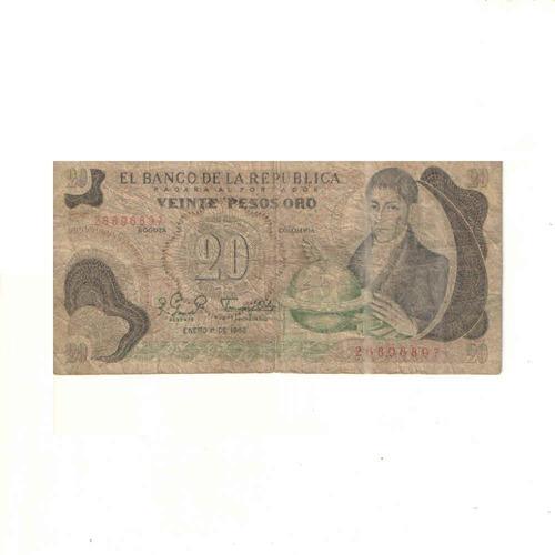 Imagen 1 de 2 de Billete De 20 Pesos Oro De Colombia