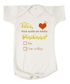 Body Bebê Aceita Ser Minha Dinda Convite Madrinha Batizado