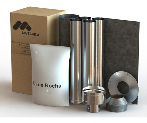 Imagen 1 de 5 de Kit Caños Techo Para Calefactores Metávila 110mm - La Kazona