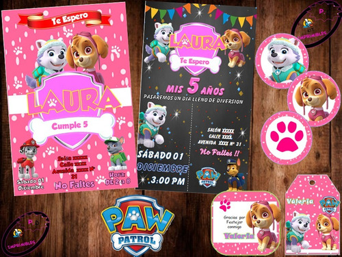 Kit Imprimible Paw Patrol Nena Niña Patrulla Canina Fiesta