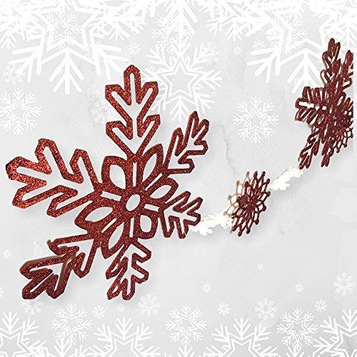 Guirnalda De Navidad Roja  4 12 Pie De Gran Copo De Nieve Ro