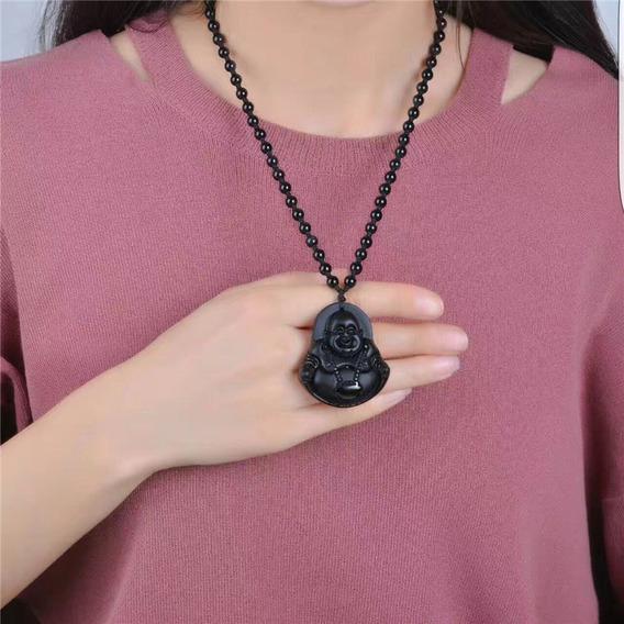 Colar Pingente Pedra Obsidiana Talhada À Mão Sorte Amuleto