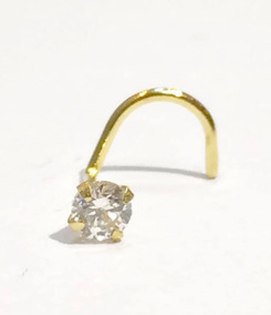 Piercing Com Zirconia Em Ouro 18k .