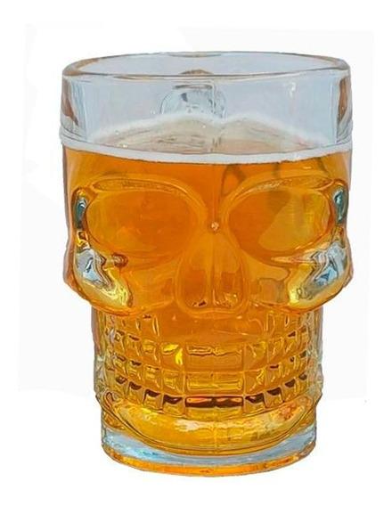 Tarro Cerveza Calaca Vaso De Vidrio Calavera Cervecero
