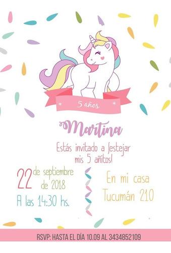 Tarjeta Invitación Unicornio Imprimible Personalizada