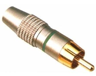 Plug Rca Macho * Metalico * Especial * Verde (lote De 10pçs)