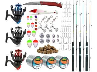 Kit Pescaria 3 Varas + 3 Molinetes + Acessórios +12x S Juros