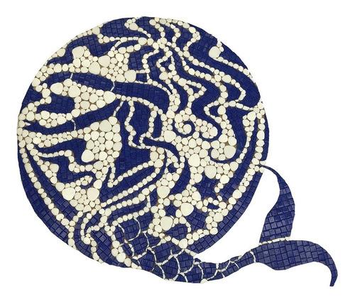 Imagen 1 de 3 de Mosaico Medallón Sirena Con Fondo Vitrogota P/alberca O Muro