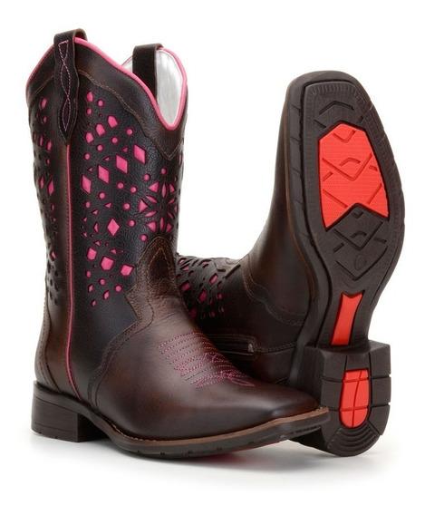Bota Texana Feminina Cano Médio Country Bico Quadrado 2cores