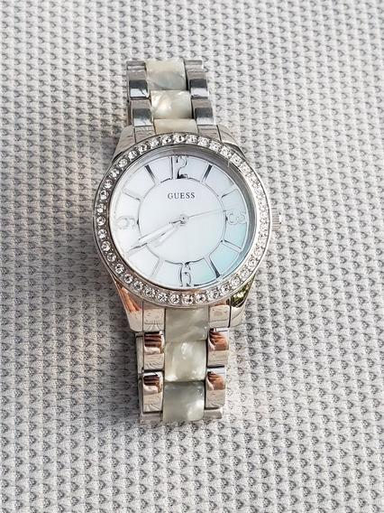 Reloj Guess Dama W0074l1 Original Usado Acero Y Madreperla