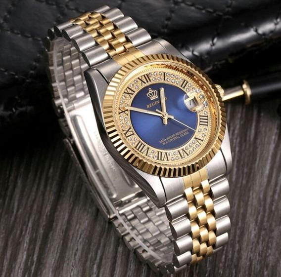 Relógio Feminino Reginald Cor Dourado Cor Ouro Fundo Azul
