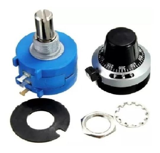 Kit Potenciometro Multivoltas 10k + Knob Dial H506