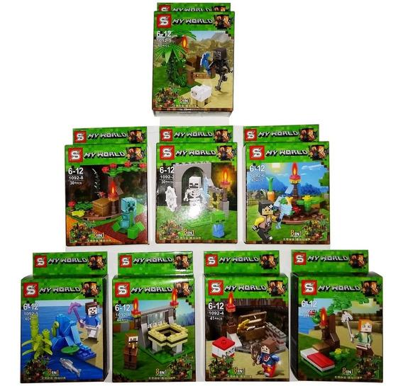 Lego Minecraft 310+peças Kit Com 8 Modelos Diferentes 8em1