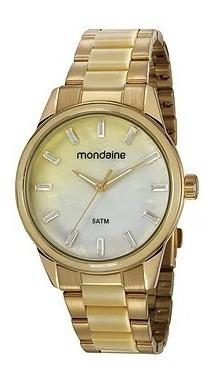 Relógio Cordel Mostrador Madrepérola Dourado 53663lpmvde1