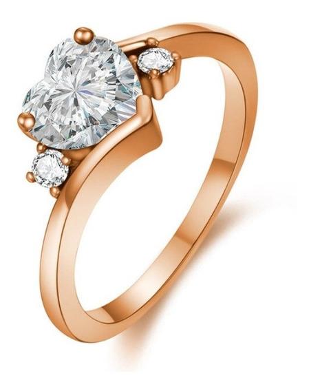 Hermoso Anillo Corazon Chapa Oro Rosa Cristal Austriaco Egts