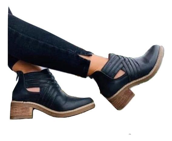 Botas Botinetas Cuero Zapatos Mujer A23 Temporada Invierno