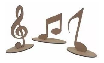 26 Kits Com 3 Notas Musicais Na Base Mdf Cru Centro De Mesa
