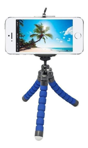 Tripé Flexível Ajustável Regulador Smartphone Cameras Azul