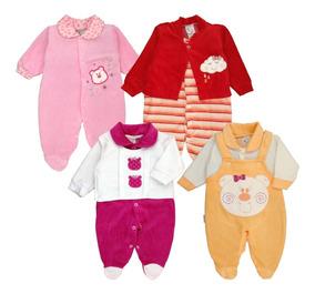 Kit 4 Macacão Bebê Plush Menina Maternidade Outono - Inverno