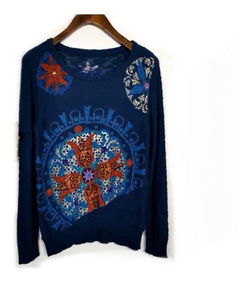 Suéter Desigual Azul Rey Mujer