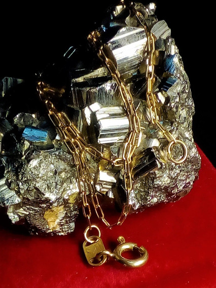 Cadena De Oro 18k Eslabón Rectangular Biselado 40cm