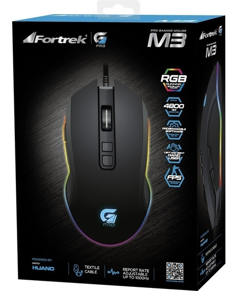 Mouse Gamer Pro M3 Rgb Preto Fortrek 4800dpi Fps Programável